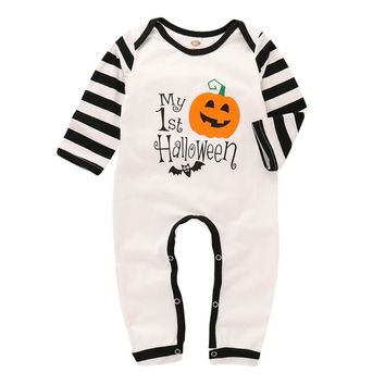 Puseky infant Baby Girls Boys Romper Outfits Cotton Long Sleeve Pumpkin Jumpsuit Clothes Festival Letter Striped Halloween  Set