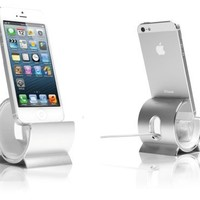 Sinjimoru Aluminum Sync Stand Docking Station Cradle Holder for iPhone 6S, 6S Plus, 6, 6 Plus, 5S, 5C, iPod Touch, iPad Mini, MFI Lighting Cable Included (Silver)