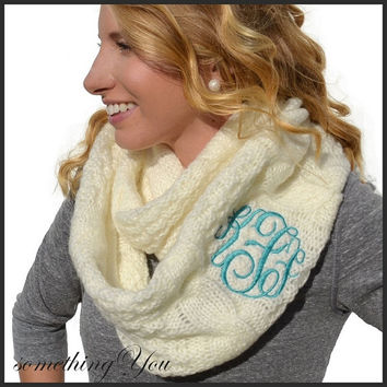 Monogrammed Scarf Infinity Chunky Cable Knit - Gift Personalized Monogram Initials Soft Personalized Womens Teen Grey Pewter Aqua Blue Ivory