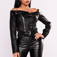 Ride With You Moto Top - Black