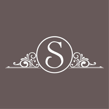 """Family Monogram Door Decal with decorative frame - Style #1 - 12"""" x 4.5"""""""