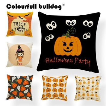 Halloween Throw Pillow Covers Cartoon Ghost Pumpkin Witch Trick or Treat Cushion Covers For Sofa Black Cat Bat Candy Party Decor