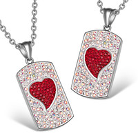 Magic Hearts Austrian Crystal Love Couples or Best Friends Dog Tag Rainbow White Cherry Red Necklaces