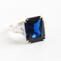 Vintage Art Deco Created Blue Spinel Ring - 1930s Size 6 1/4 Sterling Silver Dark Blue Emerald Cut Stone Jewelry
