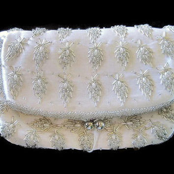 Mid-Century Vintage Ladies' Fold Over Beaded White Clutch Formal Wedding Purse 1950's Hong Kong