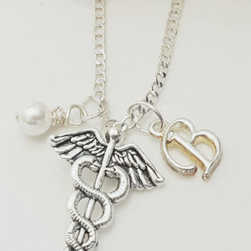 "Sterling Silver Caduceus Necklace Pendant with 18"" Box Chain Pearl / Birthstone"