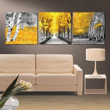 3 Piece Yellow Woods Trees Leaves Street Tree Lined Road Wall Art Canvas Panel P