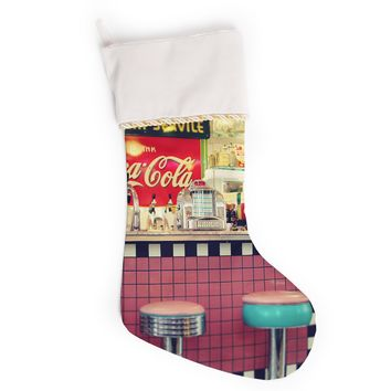 "Sylvia Cook ""Retro Diner"" Coca Cola Christmas Stocking"