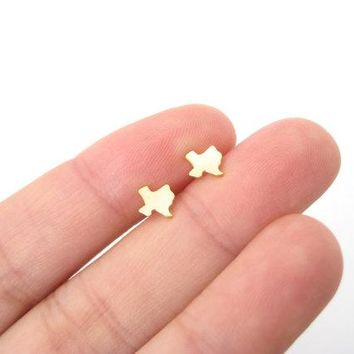 10Pair Fashion Tiny Outline Texas Stud Earrings USA Map TX State Earrings Proud Native Hometown Texan Stud Earrings