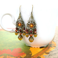 Autumn Earrings - Swarovski Crystal Fall Earrings - Neo Victorian Antique Style Autumn Jewelry Antique Brass Bronze Jewelry - Vintage Autumn