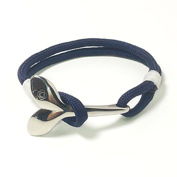 Navy Blue Nautical Whale Tail Bracelet Stainless Steel 20