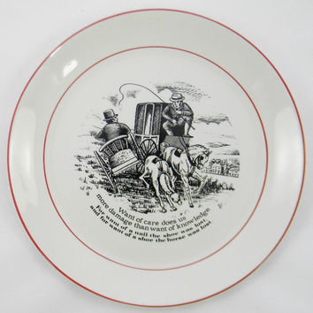 "James Kent ""Old Foley"" The Way to Wealth - Wise Sayings Want of Care Black Transferware Plate 3"