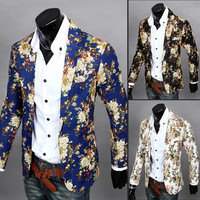 2015 New Spring Men Fashion Suit Long Sleeve Slim Fit Casual Blazer Flower Pattern Male Suits Special Design Men's Casual Blazer
