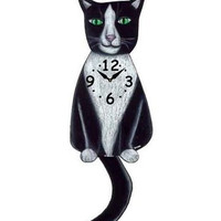 Tuxedo Black & White Cat Clock