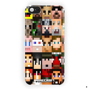 Minecraft Creeper Face Skin Collage  For iPhone 5 / 5S / 5C Case