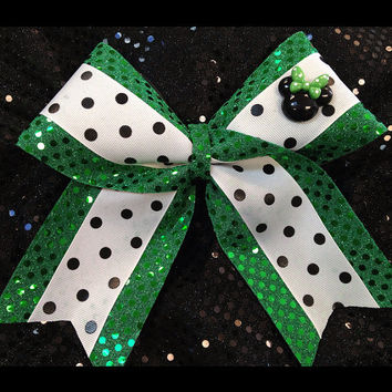 1 St. Patrick's Day Green w/Minnie Mouse Sparkle Cheer Dance Bow Ribbon