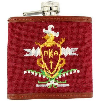 Pi Kappa Alpha (PIKE) Needlepoint Flask in Maroon by Smathers & Branson