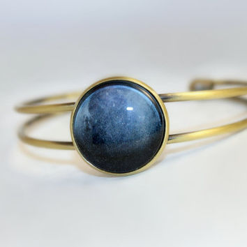 Pluto, Navy Blue Bracelet, Galaxy Jewelry, Antique Bronze Bracelet, Space Jewelry