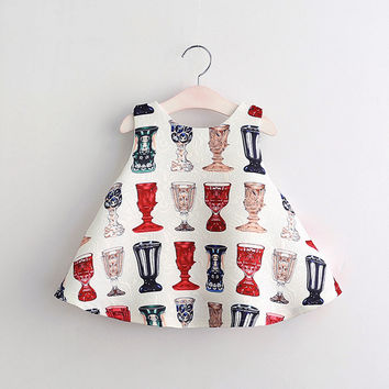 European and American Style Pattern  for Baby Girls Dress Children Clothing for 3-8Y