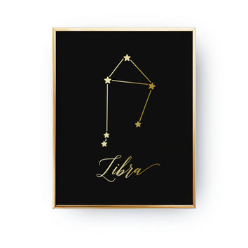 Libra Print, Zodiac Print, Libra Constellation, Real Gold Foil Print, Zodiac Sign, Libra Zodiac Poster, Zodiac Constellation, Astrology Art