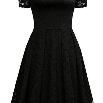 Chicloth Peasant Off the Shoulder A-line Dress 2018 Solid Lace
