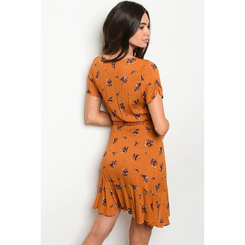 Ready To Explore, Floral Mustard Wrap Dress