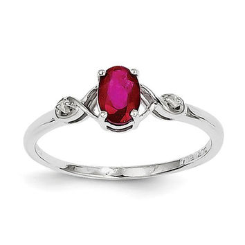 Sterling Silver Diamond And Genuine Ruby Oval Ring