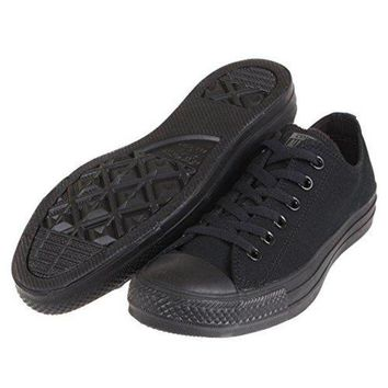 ONETOW Converse Unisex Chuck Taylor All Star Low Top Black Monochrome Sneakers - US Men 6 / US Women 8