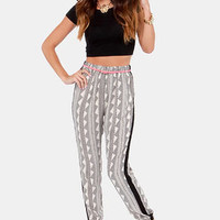 Glamor Time Black and Cream Print Pants