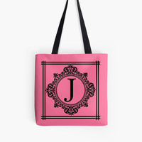 Hot Pink and Black Monogram J