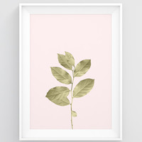 Botanical art print, Gold leaves print, Nature wall art, PRINTABLE modern poster, Pink and gold nursery decor, Plant art, Modern art poster