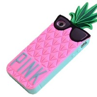 BYG Pink 3D lovely Fruit Ananas Style Soft Case Protective Cover For Apple iphone 4 4S 4G + Gift 1pcs Phone Radiation Protection Sticker