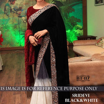 Sridevi Black Velvet Latest Bollywood Saree