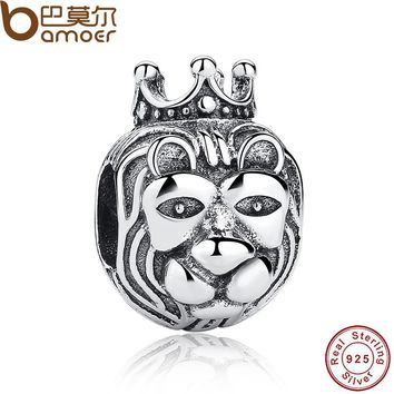 Gift 925 Sterling Silver King Of The Jungle Lion Head Charms fit original Bracelets & Necklace Jewelry Accessories PAS218