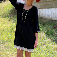 Swan Dive Black Knit Baby Doll Dress