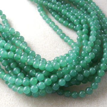 Green Aventurine Round Beads, Gemstone Beads, Semi Precious, Bead Supplies, Craft Supplies, Jewelry Making Necklace Design, Aventurine