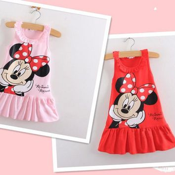 Baby Kids Girls cartoon Minnie dress Christmas grils Party dresses child's clothes tutu Princess dress DS20