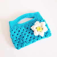 Turquoise Blue Child Size Clutch, Childrens Purse, Little Girls Pocket Book, Childrens Accessories, Childs Handbag, Easter