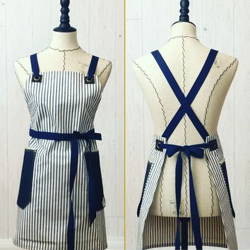 The Daily Grind No. 3- Canvas Ticking, Cross-back Apron