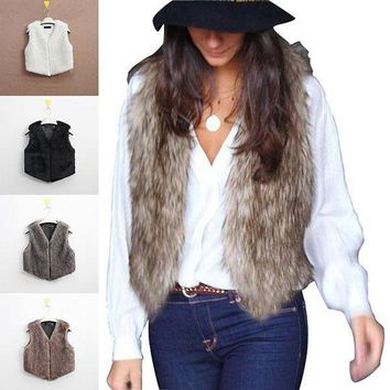 Lady Women's Winter Faux Fur Waistcoat Gilet Short Coat Jacket Warm Outwear Vest