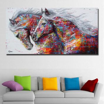 The Two Running Horse Wall Art