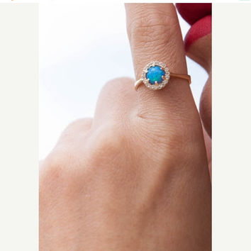 HALLOWEEN SALE -20% Blue Australian Opal Ring, Round Opal ring, Solid Gold 14k ,Opal Engagement Ring, Birthstone Ring