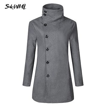 SUKIWML 2017 New Winter Men's Long Trench Coats Slim Fit Male Trench Coat Turtleneck Casual Trench Coat Plus Asian Size M-3XL