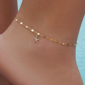 Starfish Anklet, Gold or Silver Ankle Bracelet, Beach Jewelry, Simple and Layered