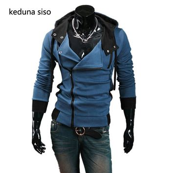 Male Hoody Autumn & Winter Oblique Zipper Casual Slim Long sleeve Hiphop Assassin Creed Hoodies Sweatshirt Outerwear Jackets