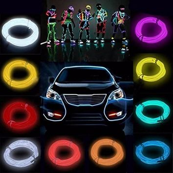 5m 3V Flexible Neon Light Glow EL Wire Rope tape Cable Strip LED Neon Lights Shoes Clothing Car waterproof led strip New