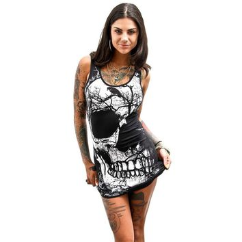 Vintage Skull Printed Dresses Women Sexy Bodycon Party Balck Dress Womens Summer Sleeveless Bandage Package Hip Dress Vestido #Z