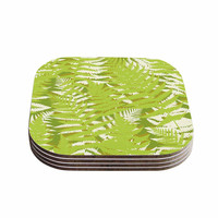 "Jacqueline Milton ""Fun Fern - Green"" Green Floral Coasters (Set of 4)"