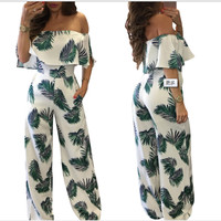Summer Beach Floral Prints Jumpsuit Clubwear Bodycon Playsuit Romper playsuits Chiffon Sashes Loose Casual Boat Neck