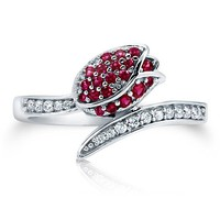 Ruby Cubic Zirconia CZ 925 Sterling Silver Tulip Design Bypass Ring #r683